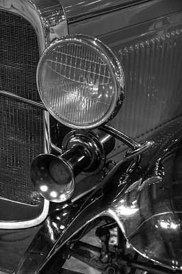 Photograph - 1930 Ford Model A Rumble Seat Roadster Headlight And Horn Black And White by Ken Smith