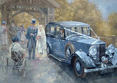 Cycling Painting - 1930s Country Wedding  by Peter Miller