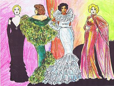 Evening Gown Drawing - 1930s Gowns by Mel Thompson