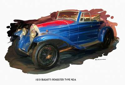 Digital Art - 1931 Bugatti Roadster Type 40a by RG McMahon