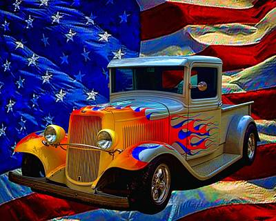 Photograph - 1931 Ford Flaming Custom Pickup Truck by Tim McCullough