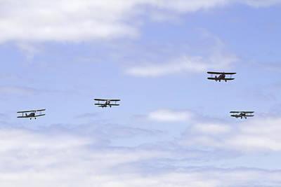 Photograph - 1931 Waco Ubf2 1917 Spad Xiiici1917 Nieuport 28c1 And De Havilland Dh82a Tiger Moth Photo Print by Keith Webber Jr