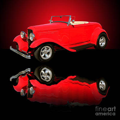 Photograph - 1932 Ford V8 Red Roadster by Jim Carrell