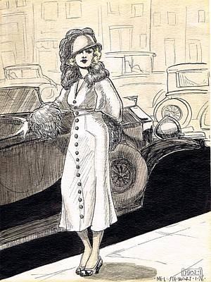 Street Car Drawing - 1932 by Mel Thompson