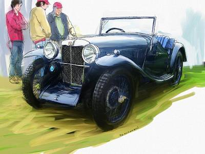 Painting - 1933 M G J2 by RG McMahon