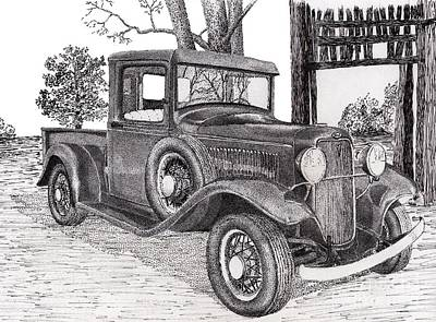 Ford Truck Drawing - 1934 Ford Truck by Jimmy McAlister