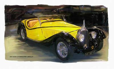 Digital Art - 1934 Voisin C27 Grand Sport Cabriolet by RG McMahon