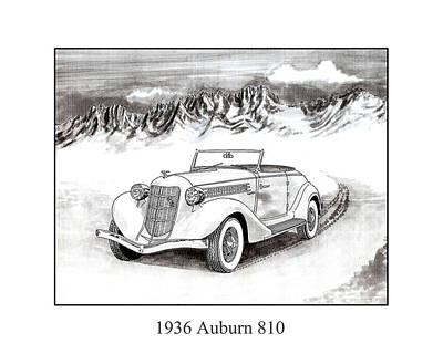 Pen And Ink Drawing Drawing - 1936 Auburn 810 by Jack Pumphrey