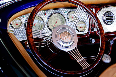 Photograph - 1936 Auburn Speedster Replica Steering Wheel by Jill Reger