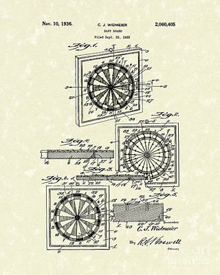 Drawing - 1936 Patent Art Dart Board by Prior Art Design