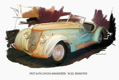 Digital Art - 1937 Auto Union Wanderer  by RG McMahon