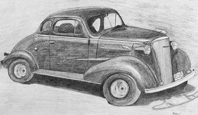 Drawing - 1937 Chevy by Kume Bryant