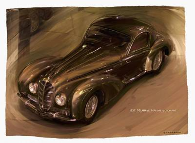 Digital Art - 1938 Delahaye Type 145 V12 Coupe by RG McMahon
