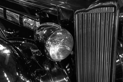 Photograph - 1938 Packard Super Eight Grille And Headlight Black And White by Ken Smith