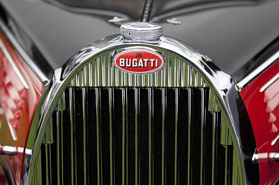 Photograph - 1939 Bugatti Type 57 Galibier Sports Saloon Hood Emblem by Jill Reger