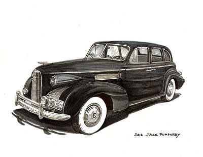 80s Drawing - 1939 Lasalle Classic by Jack Pumphrey