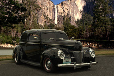 Photograph - 1940 Ford Deluxe At Yosemite Falls California by Tim McCullough