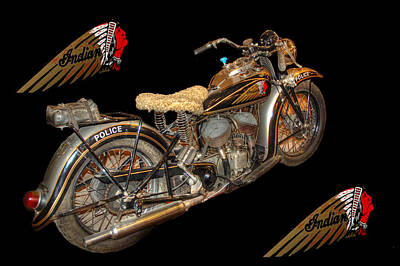 1940 Indian Scout Police Unit Version 3 Art Print by Ken Smith