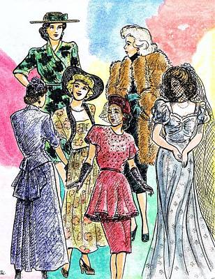 Bustle Drawing - 1940s Fashions by Mel Thompson