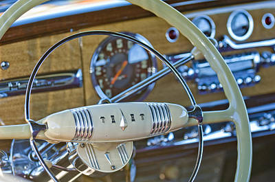 1949 Hudson Commodore 6 Convertible Steering Wheel Art Print by Jill Reger