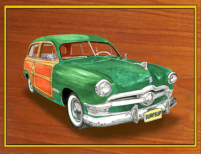 Painting - 1950 Ford Country Squire Woody by Jack Pumphrey