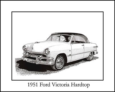 Pen And Ink Drawing Drawing - 1951 Ford Victoria Hardtop by Jack Pumphrey