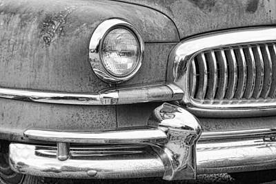 1951 Nash Ambassador Front End Closeup Bw Art Print