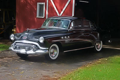 1952 Buick And Old Barn Art Print by Elizabeth Coats