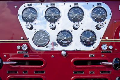 Photograph - 1952 L Model Mack Pumper Fire Truck Controls by Jill Reger