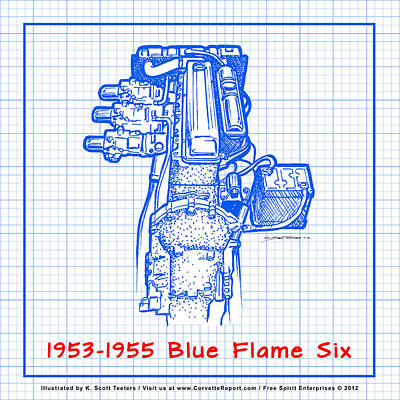 Drawing - 1953-1955 Corvette Blue Flame Six Engine Reverse Blueprint by K Scott Teeters
