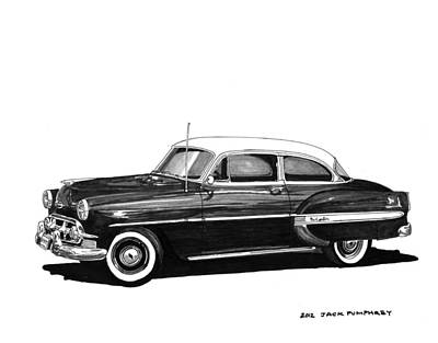 80s Drawing - 1953 Chevrolet Post 2 Dr Sedan by Jack Pumphrey