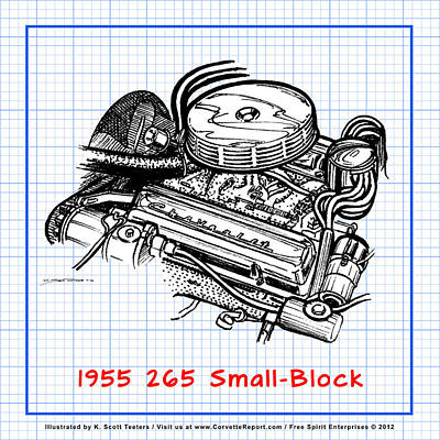 Drawing - 1955 265 Small Block Chevy Corvette Engine Blueprint by K Scott Teeters