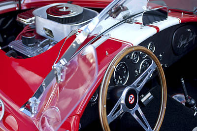 Photograph - 1955 Ac Cobra Steering Wheel And Engine by Jill Reger