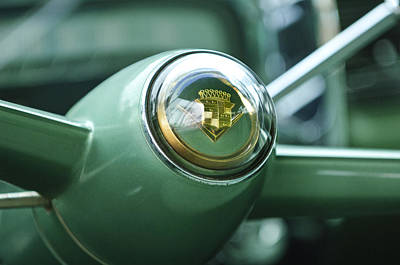 1955 Cadillac Photograph - 1955 Cadillac Coupe Deville Steering Wheel Emblem by Jill Reger