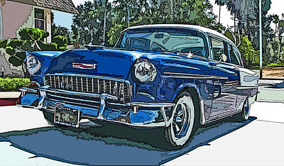 1955 Chevy Bel Air Art Print by Samuel Sheats