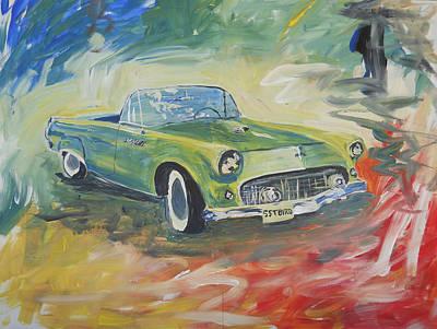 1955 Green Tbird Art Print by Candace Nalepa