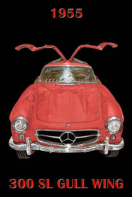 Painting - 1955 Mercedes Benz 300sl Gull Wing  by Jack Pumphrey