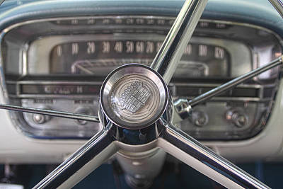 1956 Cadillac Steering Wheel Art Print by Linda Phelps