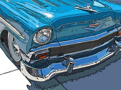 1956 Chevy Bel Air Nose Study Art Print by Samuel Sheats