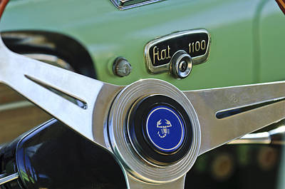 Photograph - 1956 Fiat 1100 Sedan Steering Wheel Emblem 2 by Jill Reger