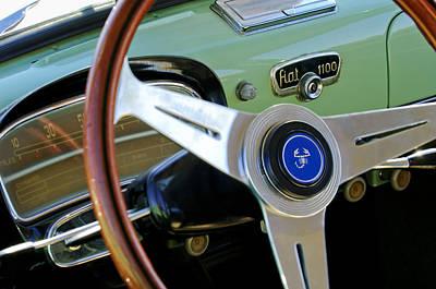 Photograph - 1956 Fiat 1100 Sedan Steering Wheel Emblem by Jill Reger