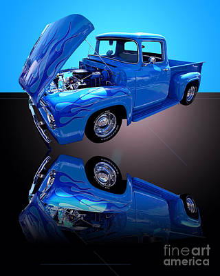 Photograph - 1956 Ford Blue Pick-up by Jim Carrell