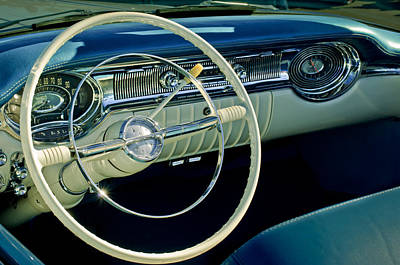 Photograph - 1956 Oldsmobile Starfire 98 Steering Wheel And Dashboard by Jill Reger