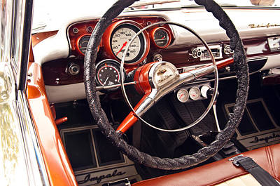 Photograph - 1957 Chevrolet Bel Air Steering Wheel by Glenn Gordon