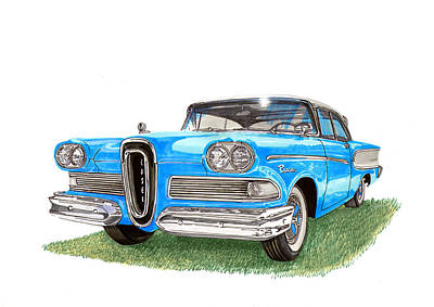 Blue And Red Painting - 1958 Edsel 2 Door Hard Top by Jack Pumphrey
