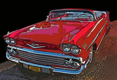1958 Red Chevrolet Impala Convertible Art Print by Samuel Sheats