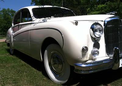 1959 White Jaguar Art Print by Elizabeth Coats