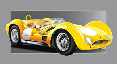 Disc Digital Art - 1961 Maserati Birdcage by Alain Jamar