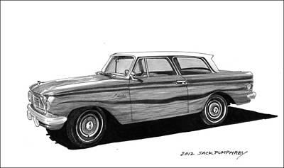 Cars From The 30s Painting - 1962 Rambler American by Jack Pumphrey