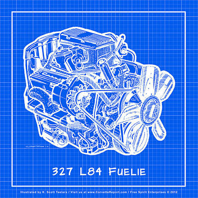Drawing - 1963 - 1965 L84 327 Corvette Fuelie Engine Reverse Blueprint by K Scott Teeters